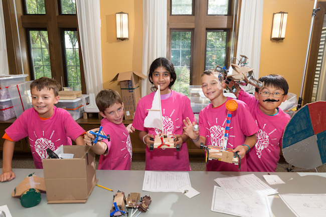 Kids attending Bakken Museum summer camp